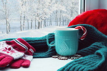 Winter background. Cup with candy cane, woolen scarf and red gloves on windowsill and winter forest outside