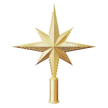 Golden Christmas star tree topper