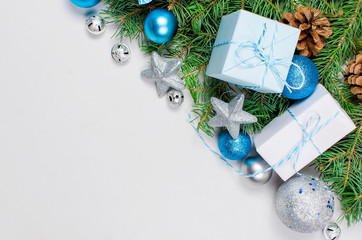 christmas background with fir, blue and silver balls