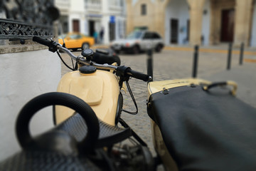 Old motorcycle with sidecar of the seventies