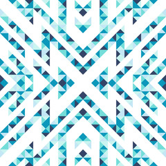 Seamless pattern of triangles and lines. Zigzags and sharp corners. Movement of geometric shapes.
