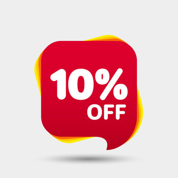 10 Percent Off Sale Discount Banner. Price tag.