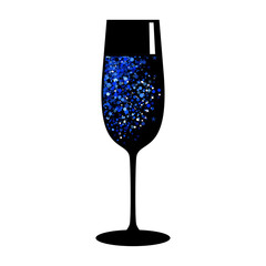 champagne blue black glass