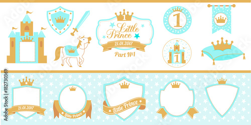 Blue And Gold Prince Party Decor Medieval Set Cute Happy Birthday Card Template Elements