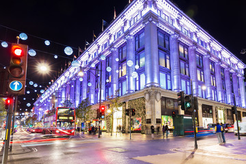 Uk, England, London Oxford street shops Christmas illumination lights decorated for New Year 2015