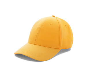 Baseball cap yellow with shadow templates, front views isolated on white background