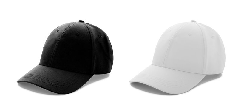Baseball cap white and black templates, front views isolated on white background