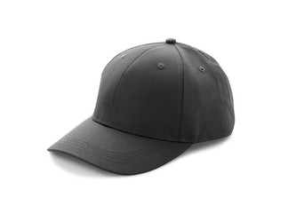 Baseball cap black templates, front views isolated on white background