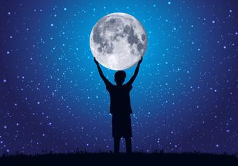 lune - enfant - rêve - étoile - ciel étoilé - concept - clair de lune - symbole - rêver - enfance
