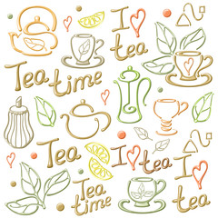 Illustration with vector tea elements and words. On white background. EPS10