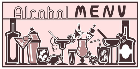 Banner with vector alcohol cocktail icons and title. Flat style. EPS10