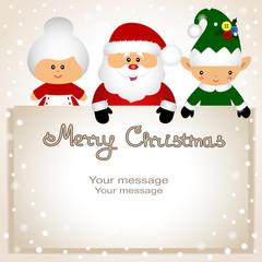 Funny postcard with Christmas Elf, Mrs. Klaus and Santa.