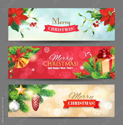 christmas banners with christmas decoration fir branches bells