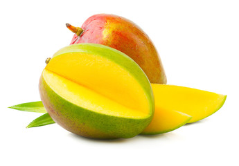 Ripe mango with leaves on white background