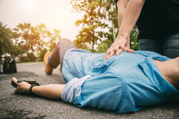 First Aid Emergency CPR on a Man who has Heart Attack or Shock , One Part of the Process Resuscitation