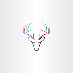 colorful deer icon drawing vector