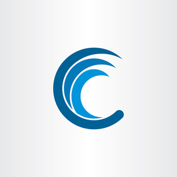 c letter logo water wave blue icon vector
