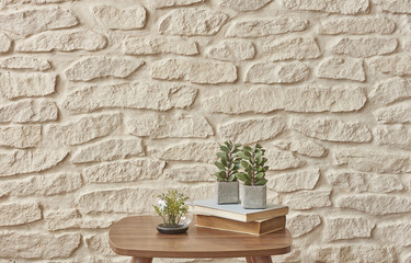 modern fancy on coffee table brick wall concept