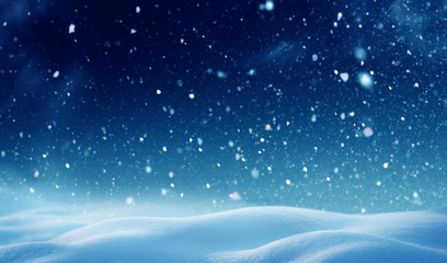 Christmas background with snow.Winter night landscape. Happy new year greeting card with copy-space. Wall mural
