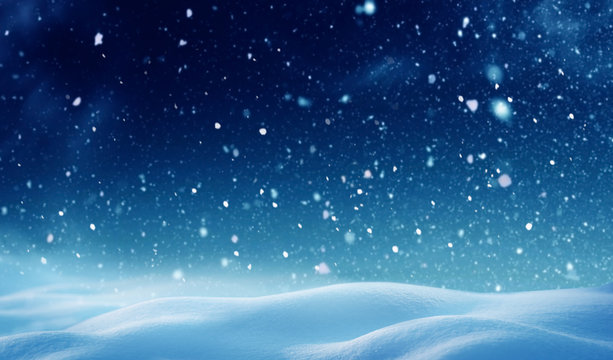 Christmas background with snow.Winter night landscape. Happy new year greeting card with copy-space.