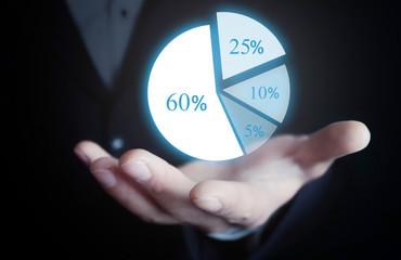 Man holding pie graph. Business concept