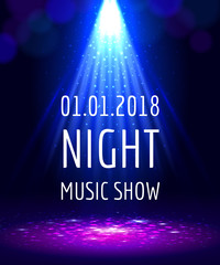 Abstract light party poster, blue beam night show background template, vector illustration