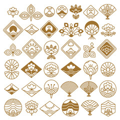 Fan and Lotus Fancy Icons Vector Illustration Set