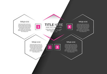 Hexagon Infographic with Pink Accents