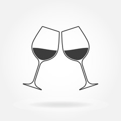Cheers icon. Two wine glasses. Vector illustration.