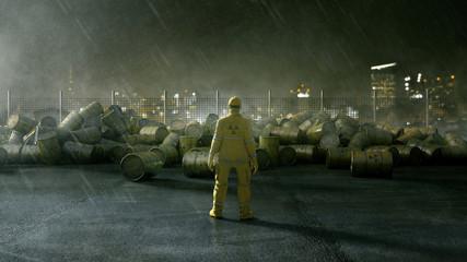 Arbeiter steht vor Fässern mit Atommüll