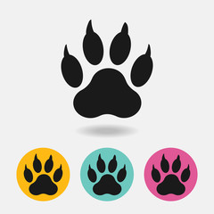 Black paw print of dog with shadow isolated on white background Vector. textiles, background, packaging, printing, website