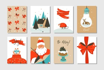Hand drawn vector abstract fun Merry Christmas time cartoon cards collection set with cute illustrations of Santa Claus and Xmas cake isolated on white background