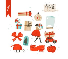 Hand drawn vector abstract fun cartoon classic Merry Christmas time illustrations decoration elements collection set with surprise gift boxes,dog,girl and snow ball bulb isolated on white background