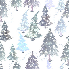 Colorful seamless pattern with Christmas tree