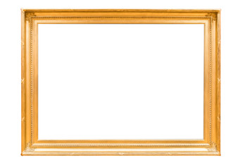Golden mirror isolated just frame