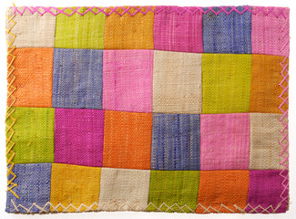 Closeup at colorful patchwork table mat Fototapete
