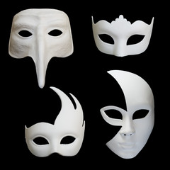 Set of four white venetian carnival masks on black backgound, set 2
