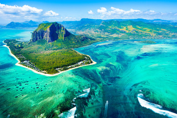 Garden Poster Air photo Aerial view of Mauritius island reef