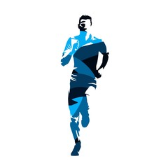 Running man, abstract blue vector silhouette, front view
