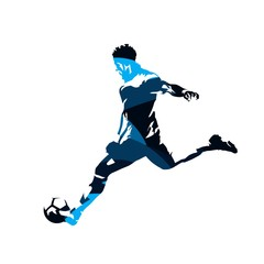 Soccer player kicking ball, abstract blue vector silhouette, side view