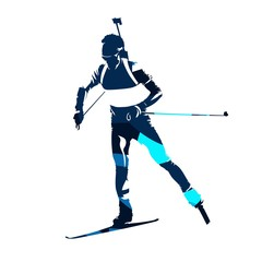 Biathlon skier, abstract blue vector silhouette, front view