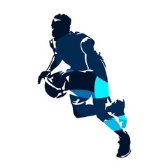 Basketball player running with ball, abstract blue vector silhouette