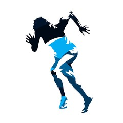 Running woman, abstract blue vector silhouette