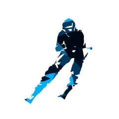 Downhill skier, abstract blue vector silhouette, front view. Winter sport
