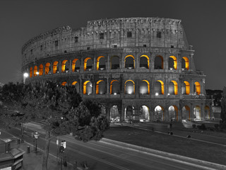 View at Roman Coliseum at night. Rome, Italy