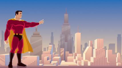 Superhero Power in City / Illustration of superhero using his superpower and directing it with his hand.
