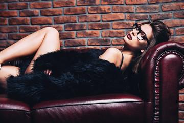 black lingerie and  fur