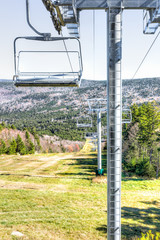 Ski lift with view of mountains and empty, nobody in autumn fall season in Snowshoe, West Virginia