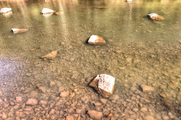 Williams river in autumn with closeup of stones, rocks in West Virginia Monongahela National Forest