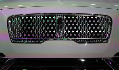 Grille of Lincoln Nautilus SUV displayed at the Los Angeles Auto Show in Los Angeles